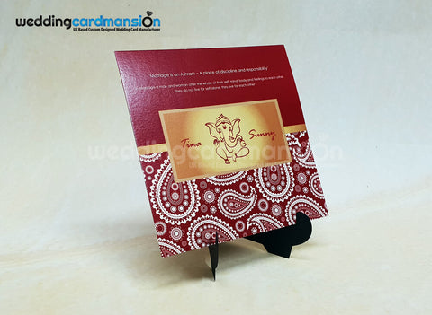 Square red paisley Ganesh wedding invitation. WC419