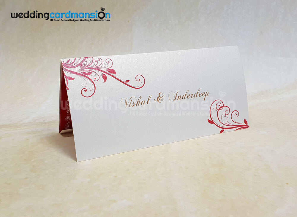 Floral Om folded wedding invitation. WC421. This card comes complete with 1 insert.