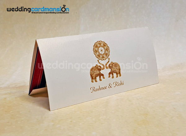 Elephant design folded wedding invitation WC422. This card comes complete with 1 insert.