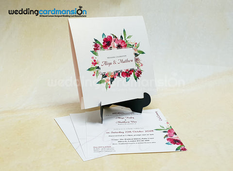 Square folded floral wedding invitation with 1 insert. WC429