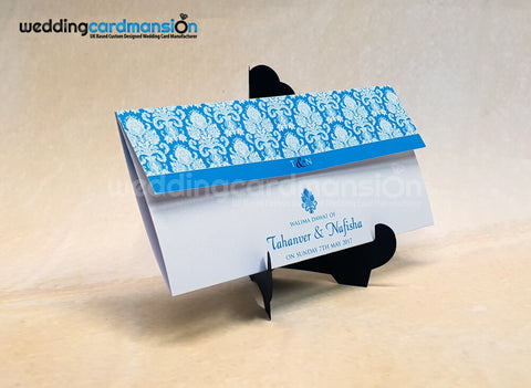 Light blue damask folded wedding invitation. WC432