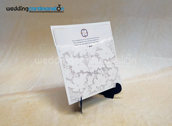 White Floral Pearl Laser Cut Pocket Invitation. WC445