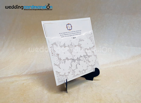 White Laser Cut Pocket Invitation. WC445