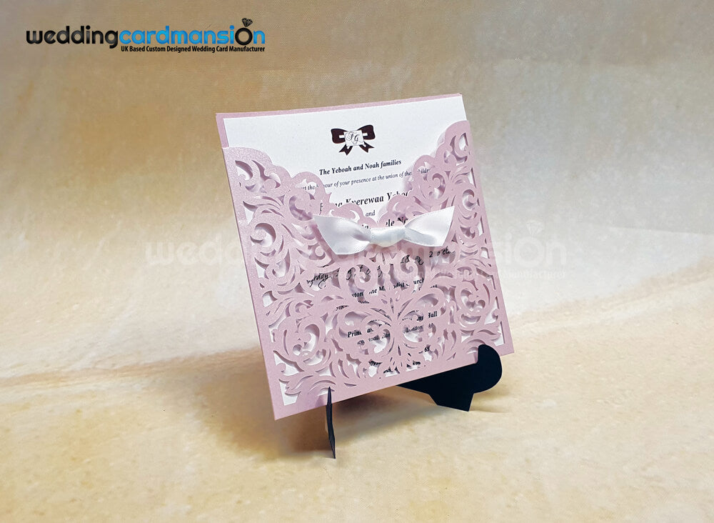 Blush Shimmer Laser Cut Wedding Invitation. WC448