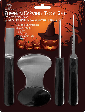 Pumpkin Carving Kit - Pro Level Stainless Steel Pumpkin Carving Kit Tools Set. Includes 10 FREE Halloween Carving Pattern Stencils!