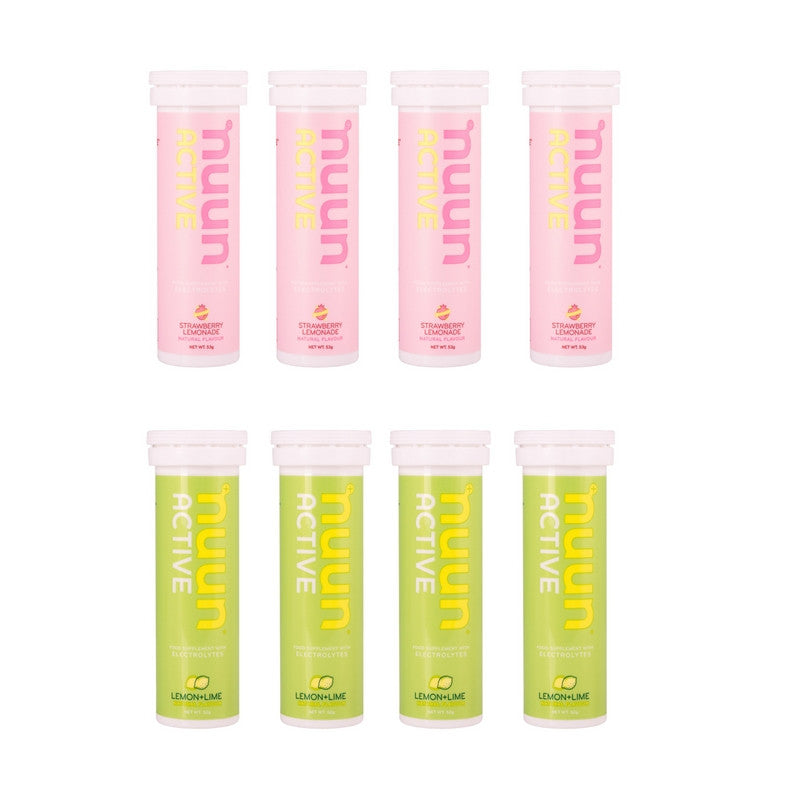Nuun Mixed Box by Bikenut - 4 Strawberry Lemonade and 4 Lemon and Lime - Bikenut