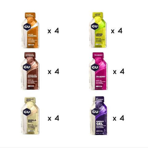 Gu Energy Gel Mixed Box (24x32g) by Bikenut - 4 Salted Caramel 4 Chocolate Outrage 4 Lemon Sublime 4 Tri Berry 4 Vanilla Bean 4 Jet Blackberry - Bikenut