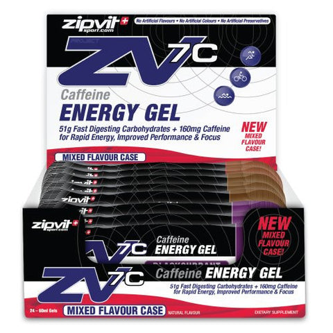Zipvit Sport ZV7C Caffeine Energy Gel - Mixed Flavour case  - 24 x 60ml