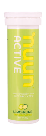 Nuun Active Electrolytes - Lemon & Lime Flavour- Tube of 10 Tabs - Bikenut - 1