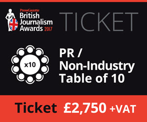 Copy of British Journalism Awards 2017 | PR / Non-Industry Table of 10 2,750