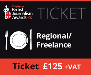British Journalism Awards 2017 | Regional / Freelance £125.00