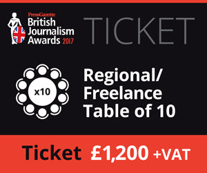 British Journalism Awards 2017 | Regional / Freelance Table of 10 £1,200.00