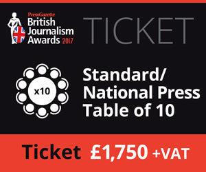 Copy of British Journalism Awards 2017 | Standard Table of 10 £1,750.00