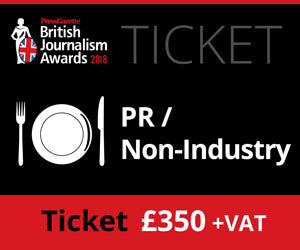 British Journalism Awards 2018 - PR/ None Industry - £350 (£358.75)