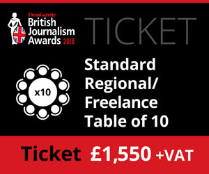 British Journalism Awards 2018 - Standard Regional/ Freelance Table - £1550 (£1588.75 )
