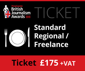 British Journalism Awards 2018 - Standard Freelance/ Regional - £175 (£179.38)