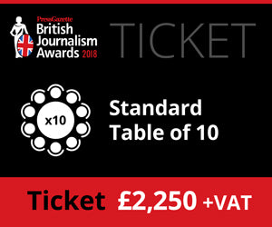 British Journalism Awards 2018 - Standard table of 10 - £2250 (£2,306.25)