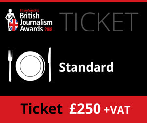 British Journalism Awards 2018 - Standard Ticket - £250 (£256.25)