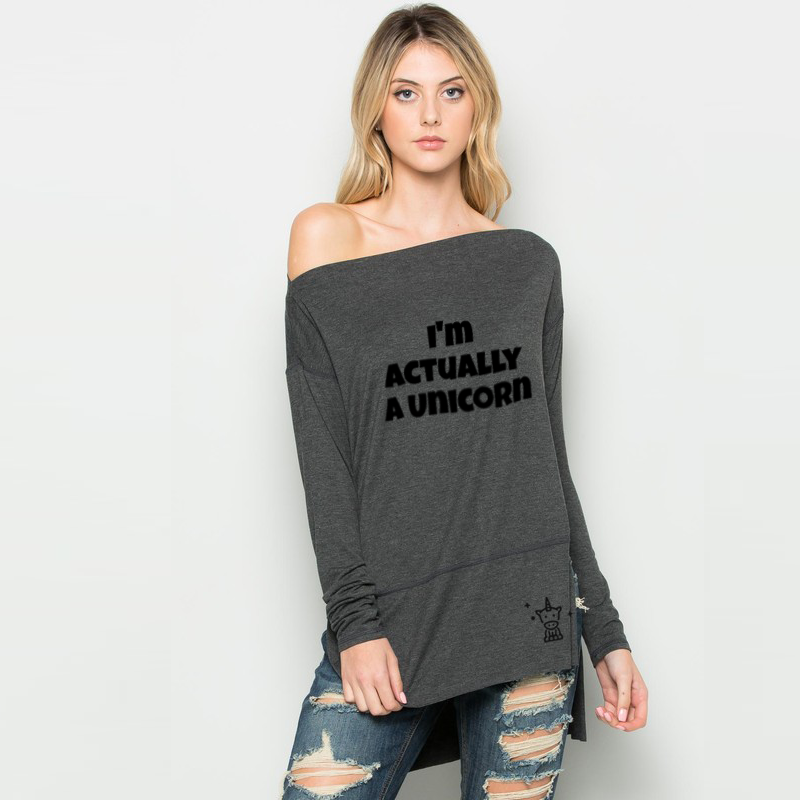 I'm Actually a Unicorn Hi-Low Off Shoulder Sweater-ClosetBlues
