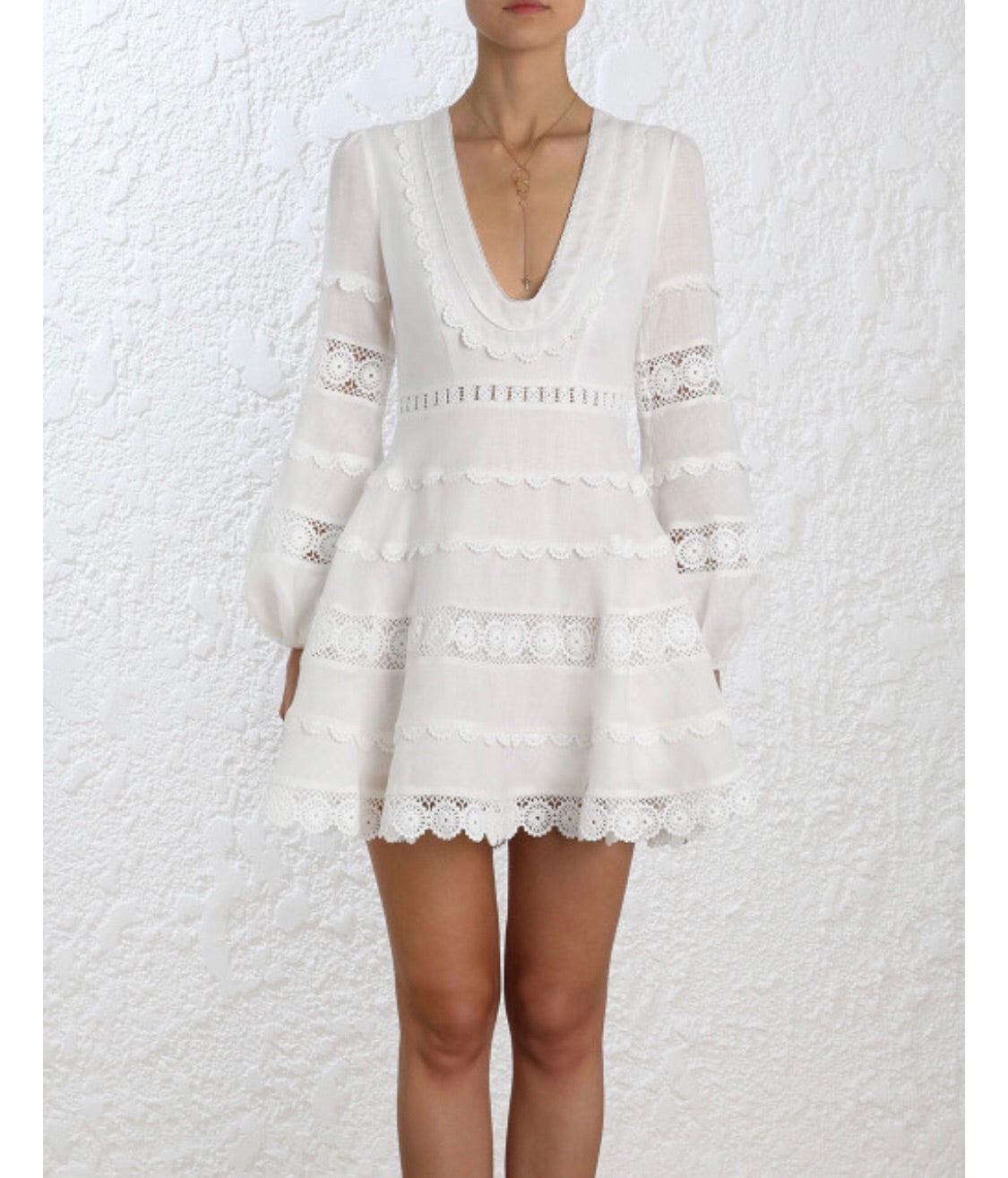 White Lace Embroidered boho dress