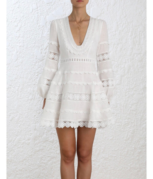 White Lace Embroidered boho dress-ClosetBlues