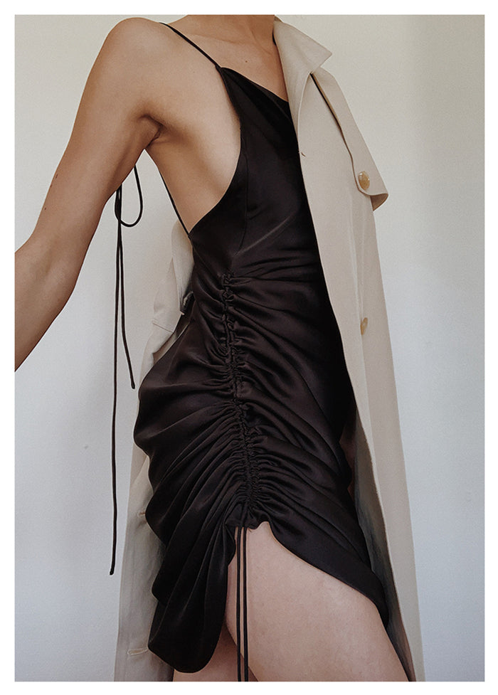 Backless Slip Dress with scrunchy strings