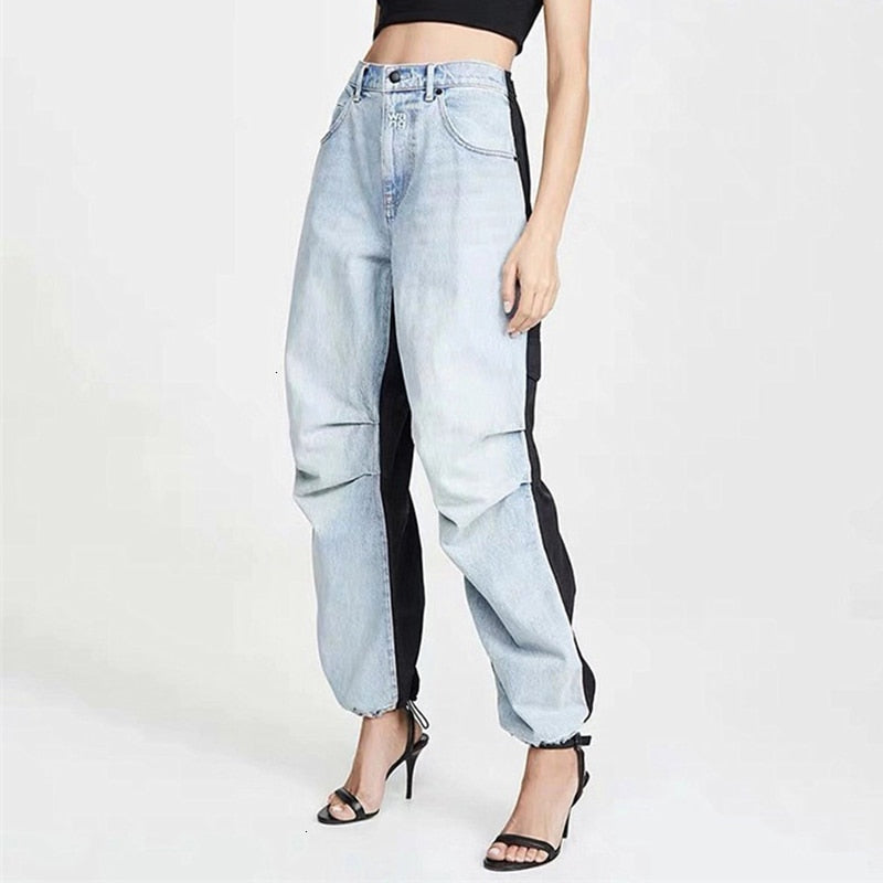 Sample / Vintage Draw String High Waist Ruched Straight Jeans