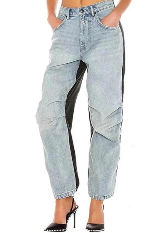 Vintage Draw String High Waist Ruched Straight Jeans