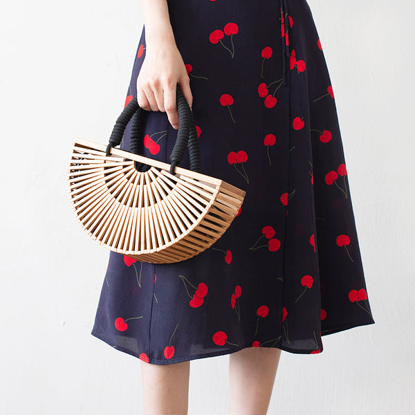 Cross body Bamboo Sticks Semi circular bag