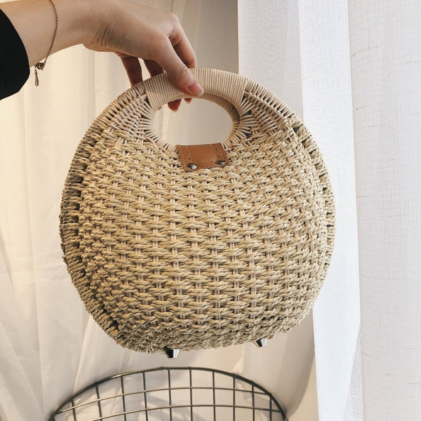 Nature Friendly / Top Handle Straw Woven Bag