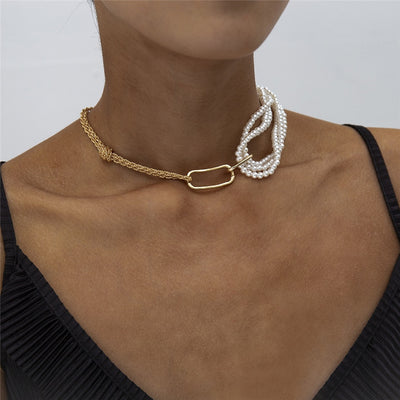 Hook Pearl Chain Choker Necklace