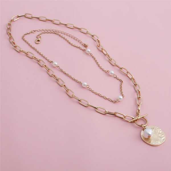 Pearl Coin Pendant Long Necklace