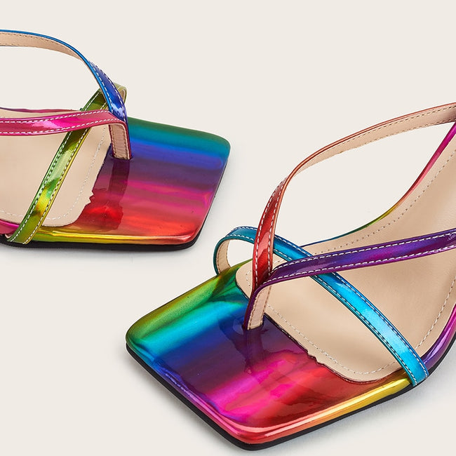 Holographic Strappy Thin High Heel Slips