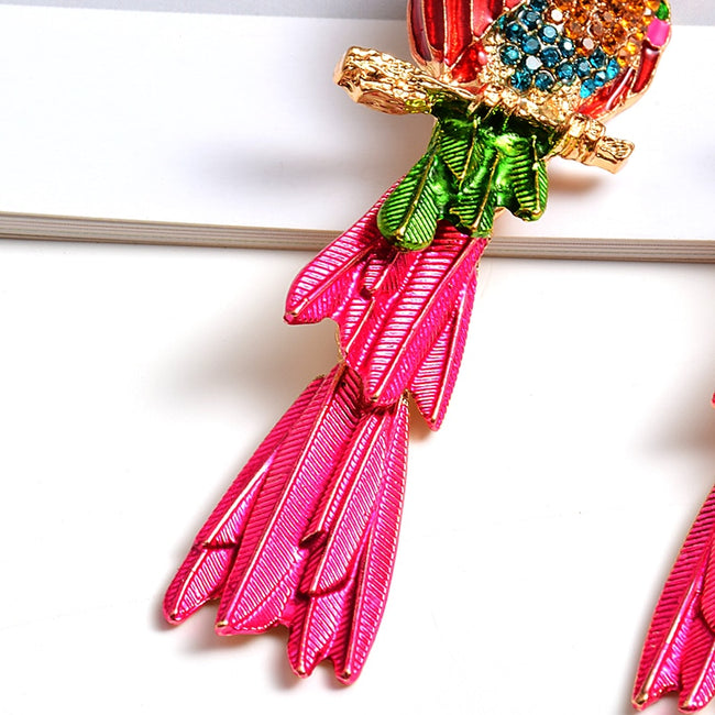 Rhinestone Glammy Galore Parrot Drop Earrings