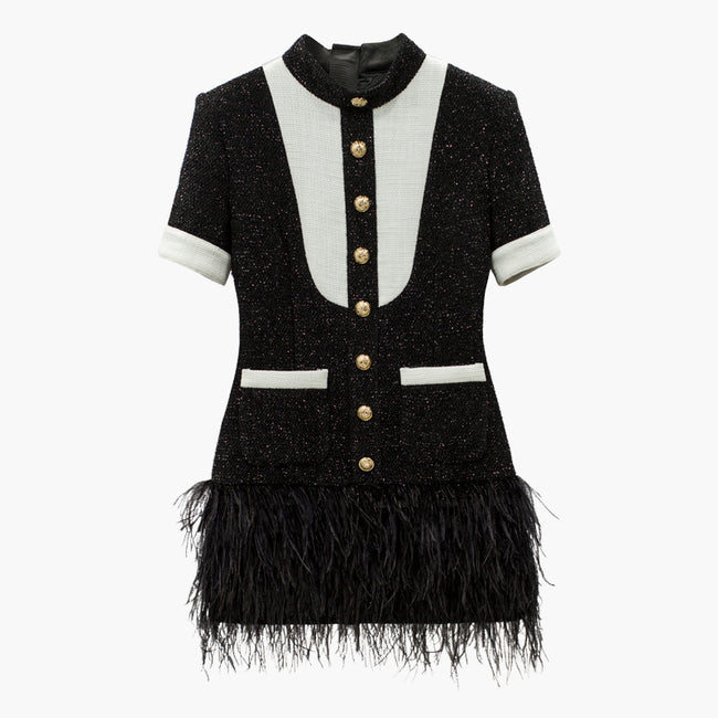 Black White Bib Color Block Lion Buttons Tweed Feather Dress-ClosetBlues