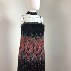 Vintage Sunray pleated cdress w/ spaghetti straps