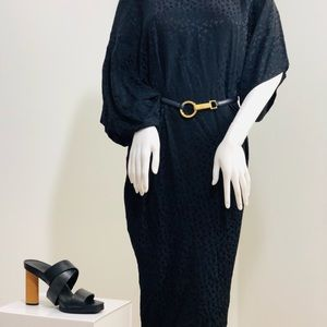 Vintage Frank Masandrea Silk black Dress with belt