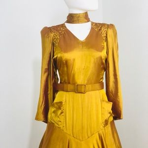 Vintage Yellow Iridescent Sterling Silver Dress