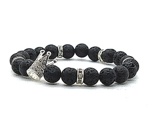 Crown Me Lava Eminence - Silver Crown Bracelet - Unlimited Royalty Apparel