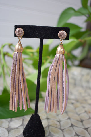 Metallic Leather Tassel Earrings