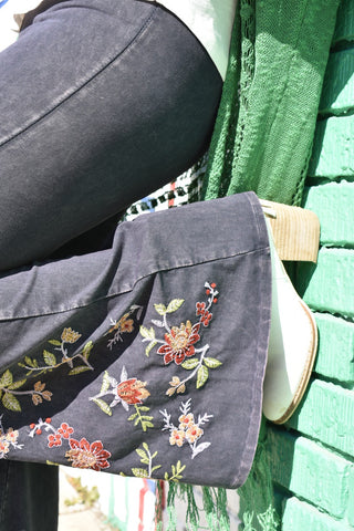 Spring Fever Embroidered Bell Bottoms