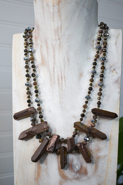 Bronzed Crystal and Beaded Necklace