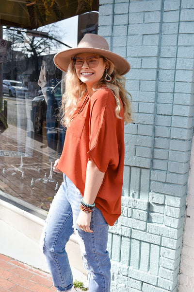Cinnamon Glow V Neck Blouse
