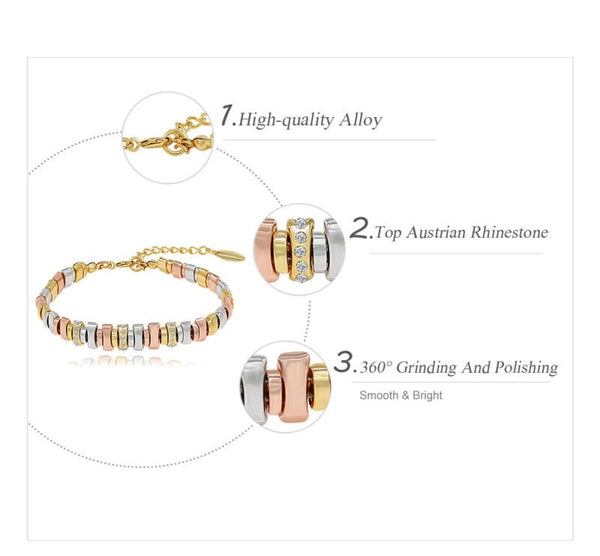 3-Tone Link Bracelet - Luna's Jewelry Warehouse - 1
