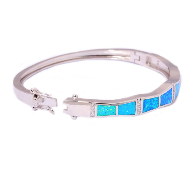 Blue Fire Opal Bangle Bracelet - Luna's Warehouse