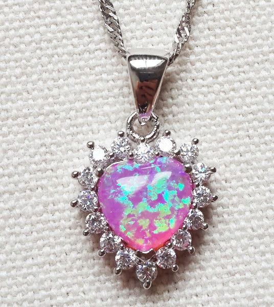 Fire Opal Heart and Cubic Zirconia Necklace - Luna's Warehouse