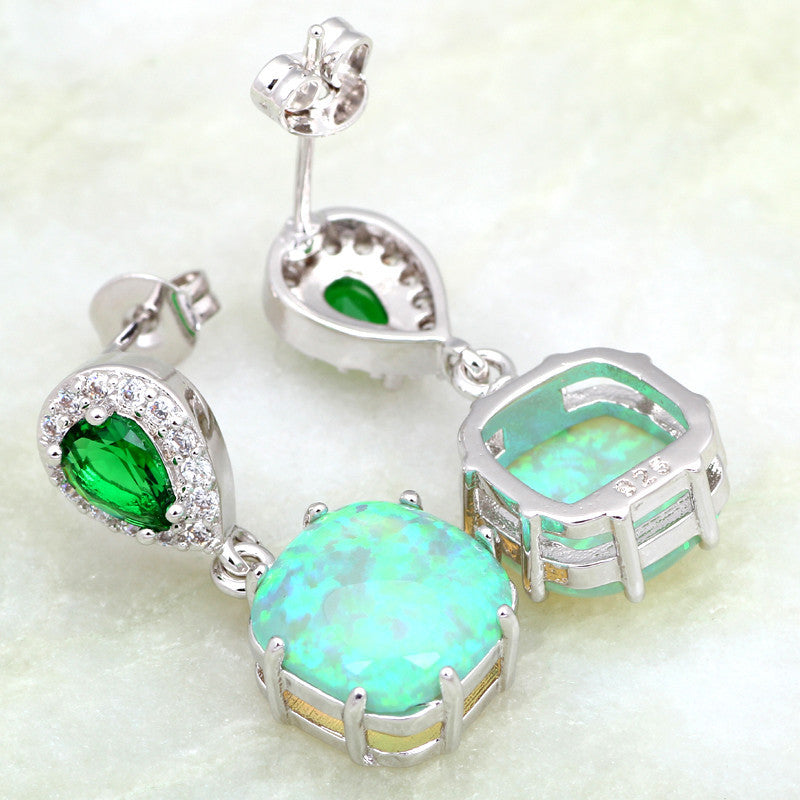Mint Green Fire Opal Drop Earrings - Luna's Warehouse