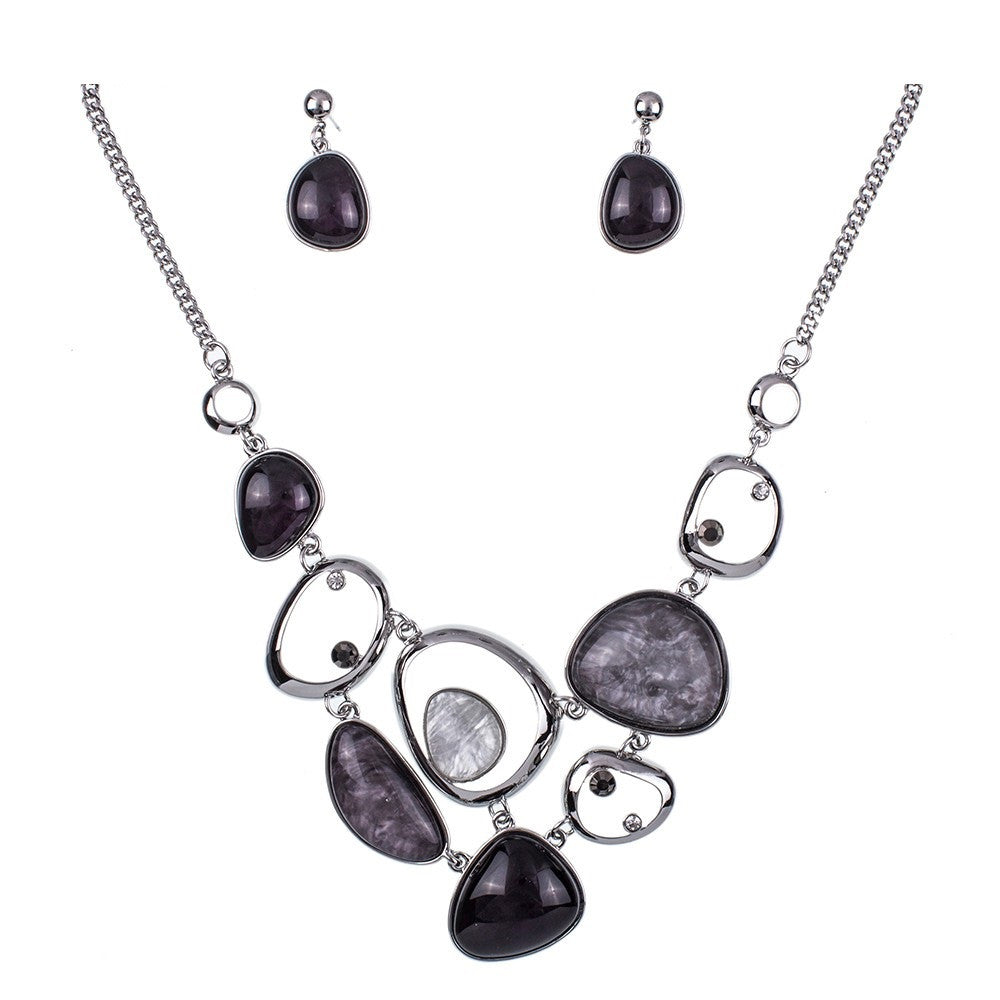 Layered Statement Necklace and Earring Set - Luna's Jewelry Warehouse - 3