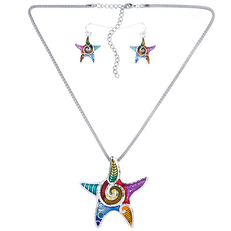 Multi Color Starfish Necklace and Earring Set - Luna's Warehouse