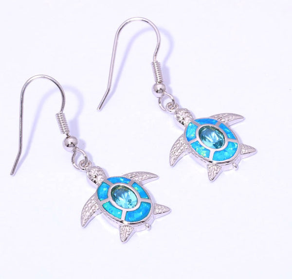 Blue Sea Turtle Drop Earrings - Luna's Jewelry Warehouse - 1